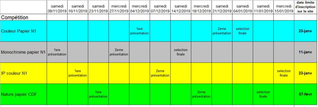 calendrier compet 2019-20